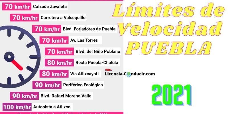 LIMITES DE VELOCIDAD PUEBLA 2021
